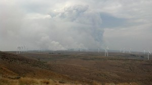 Smoke Plume Dominates Skyline Above Wind Mills Credit: Washington Interagency Incident Management Team #4