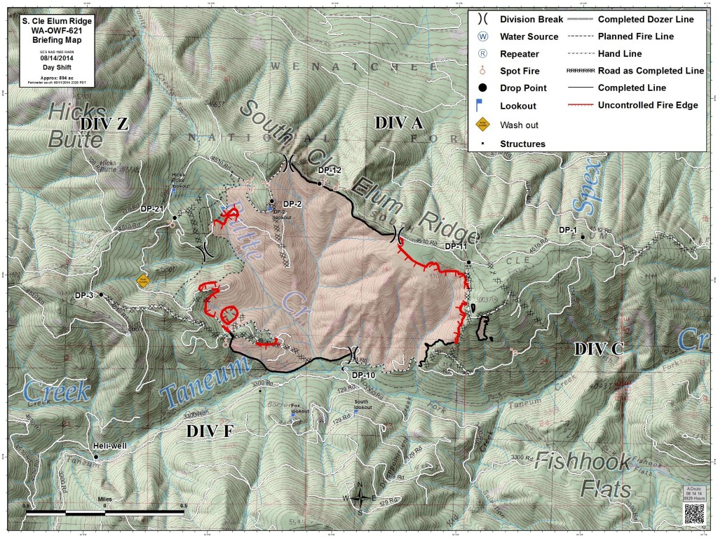Fire perimeter 8/14/14 - map courtesy of USFS.
