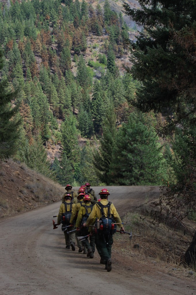Crew walking in to South Cle Elum Ridge Fire operations - photo courtesy of USFS