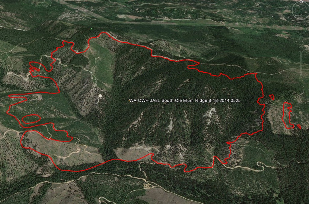 South Cle Elum Fire Perimeter as of 8/18/14. Total acres burned as of the 8/19/14 incident report are 894 acres. Image courtesy of Google Earth.
