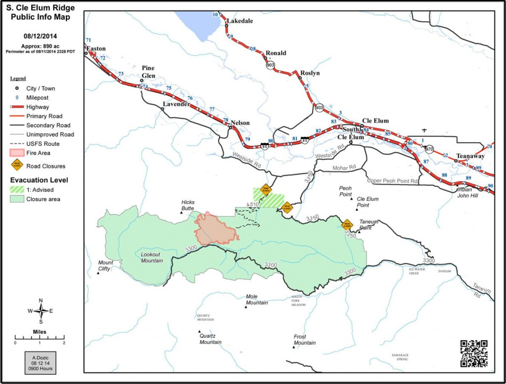 South Cle Elum Ridge Fire perimeter map, with closures, 8/12/14 - courtesy of the USFS