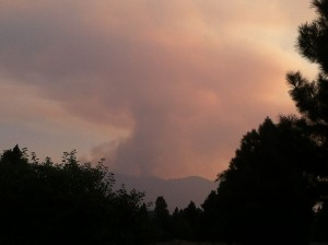 Smoke from the South Cle Elum Fire as seen from South Cle Elum Rail Yard on Sunday, Aug. 10, 2014. Jana Stoner photo