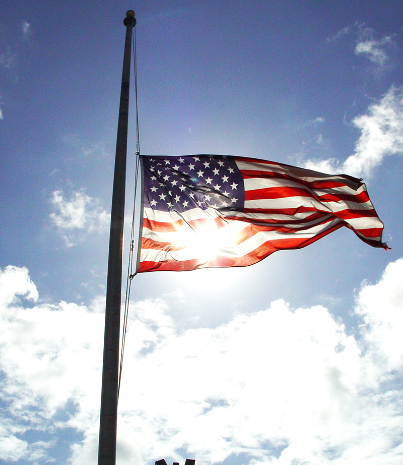 Flag Lowering – for the passing of Superior Court Judge Frances P. Chmelewski
